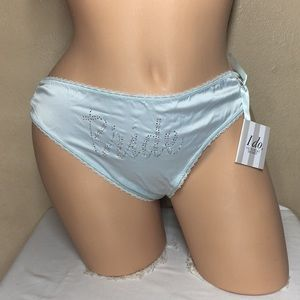 L Victoria's Secret Bikini Panty Bride I Do Blue